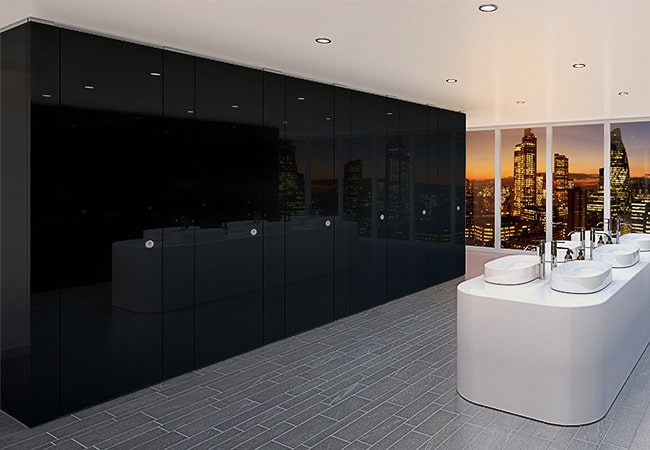 Sylan Corporate Washroom Cubicles in Black ColourCoat Gloss