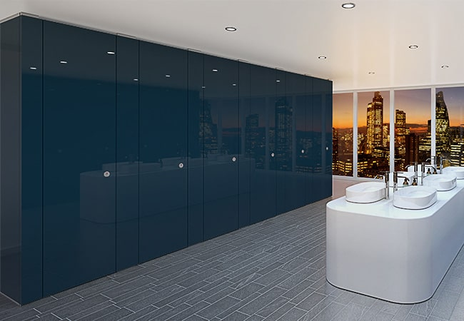 Sylan Corporate Washroom Cubicles in Blue ColourCoat Gloss