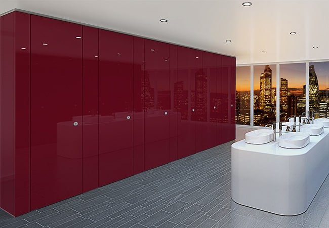 Sylan Corporate Washroom Cubicles in Light Berry ColourCoat Gloss