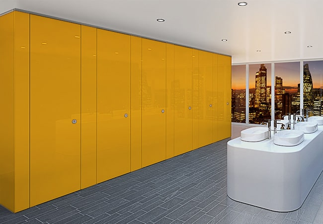 Sylan Corporate Washroom Cubicles in Yellow ColourCoat Gloss
