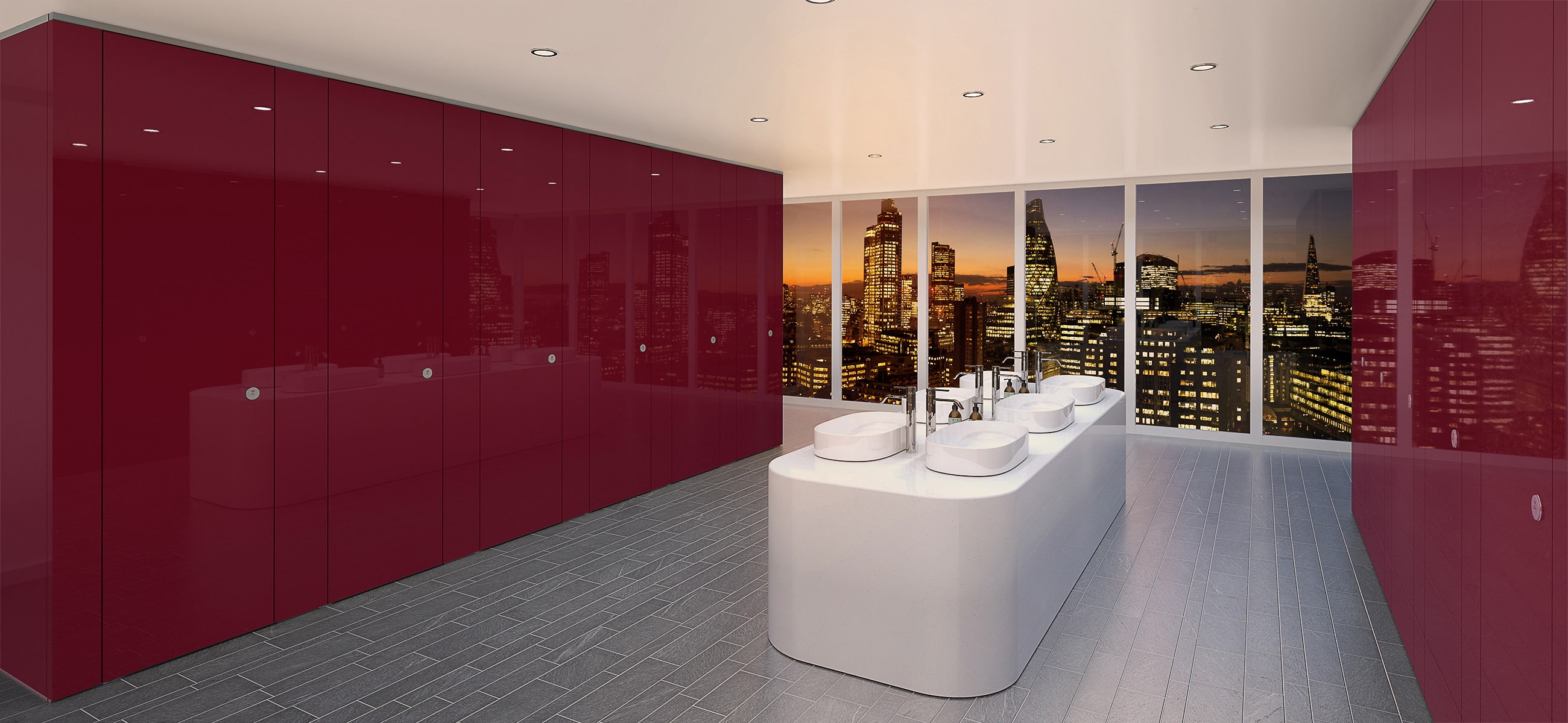 Sylan Commercial Washroom Cubicles in Light Berry ColourCoat Gloss