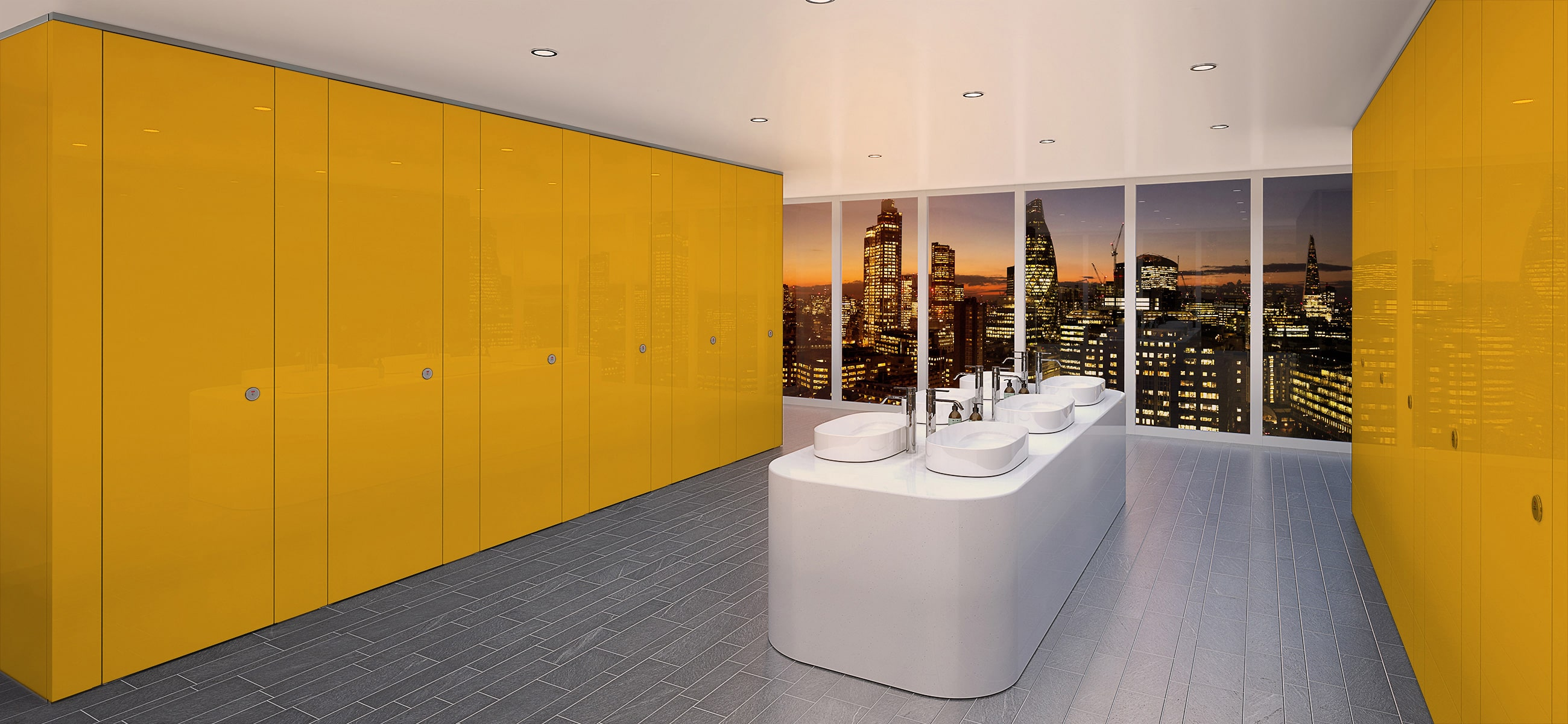 Sylan Commercial Washroom Cubicles in Yellow ColourCoat Gloss