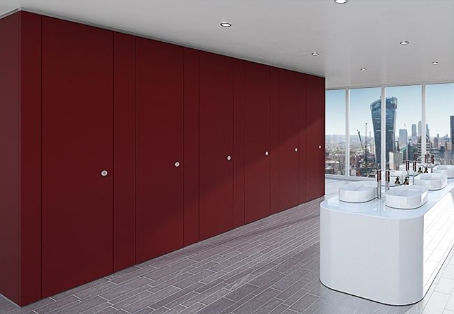 Sylan Corporate Washroom Cubicles in Berry ColourCoat