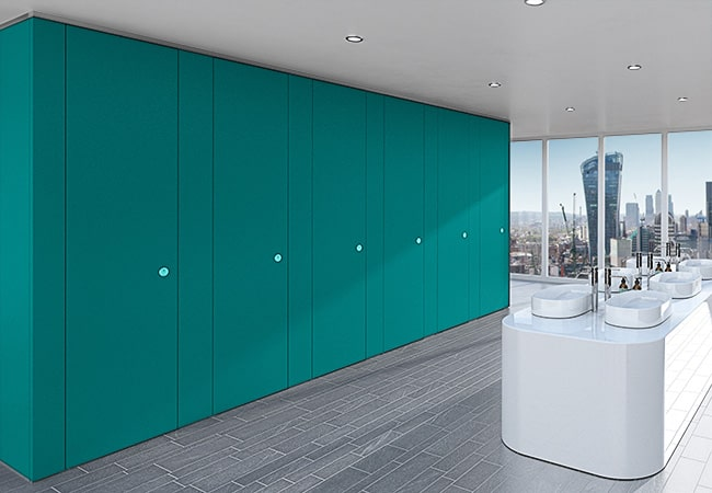 Sylan Corporate Washroom Cubicles in Teal ColourCoat