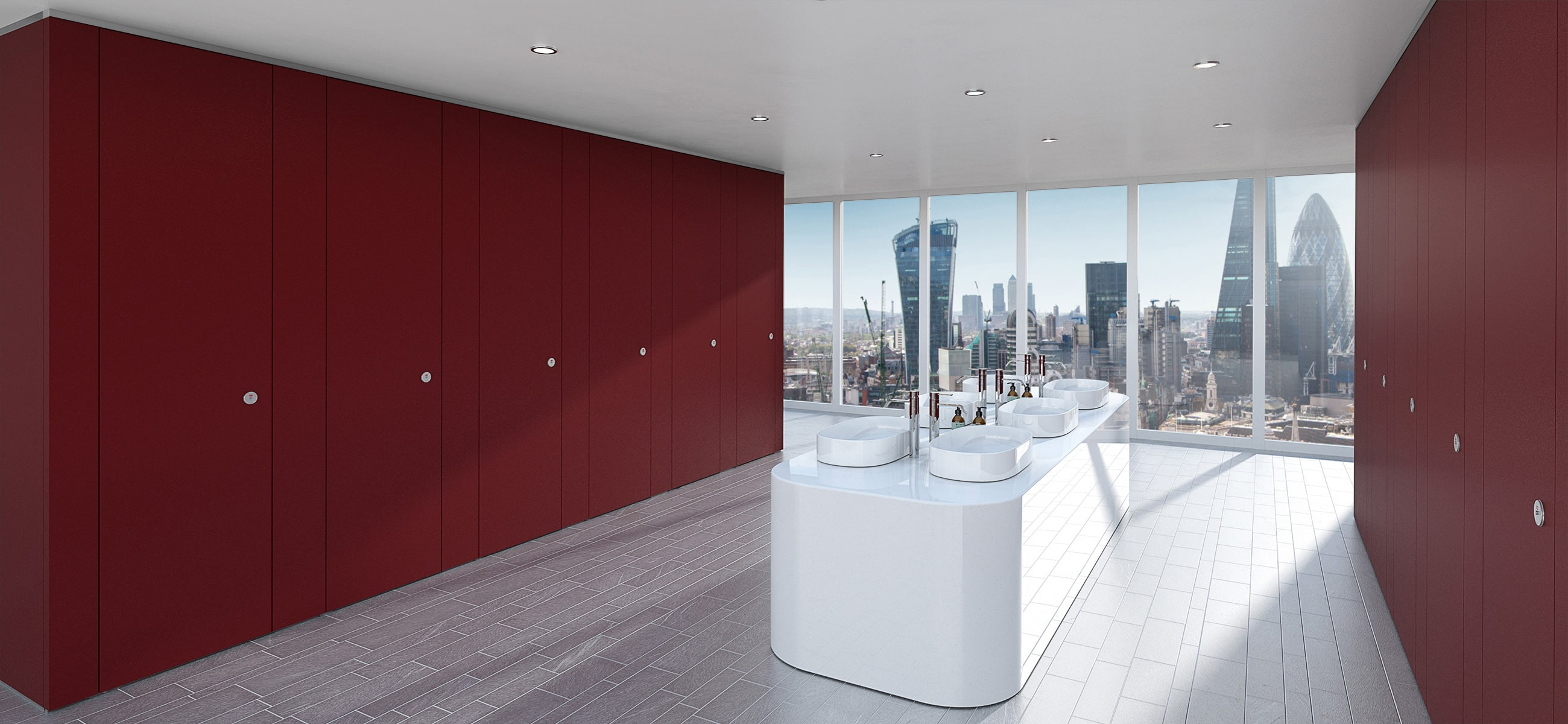 Sylan Commercial Washroom Cubicles in Berry ColourCoat