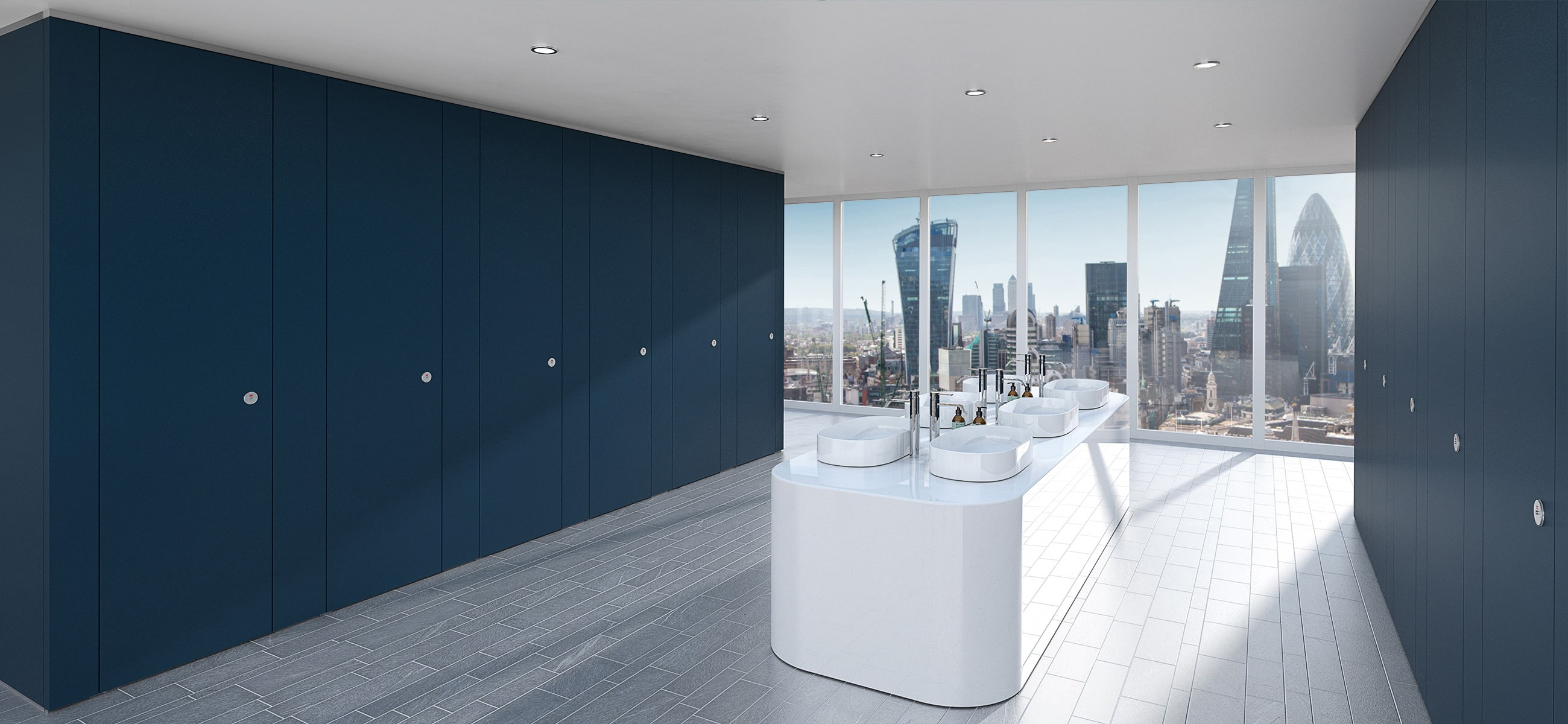 Sylan Commercial Washroom Cubicles in Blue ColourCoat