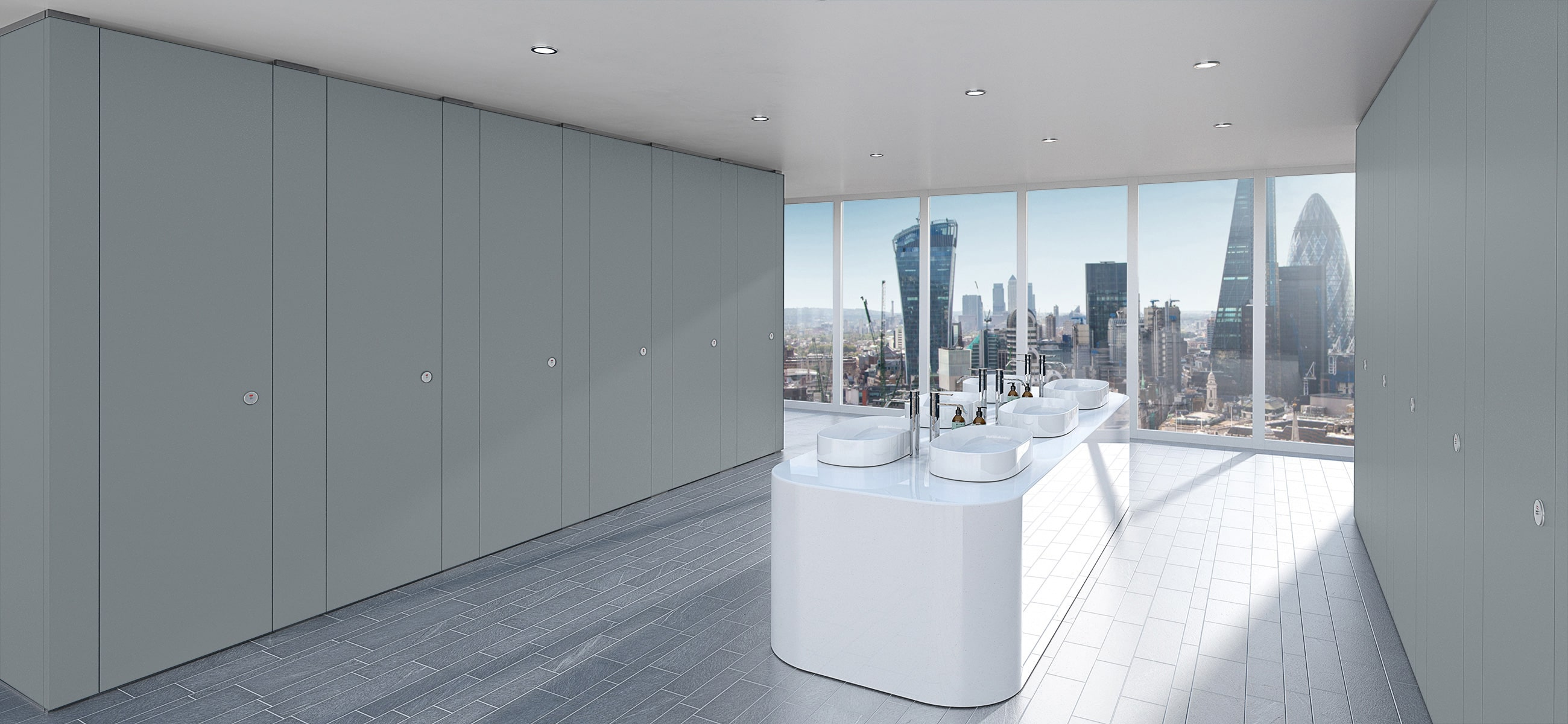 Sylan Commercial Washroom Cubicles in Grey ColourCoat