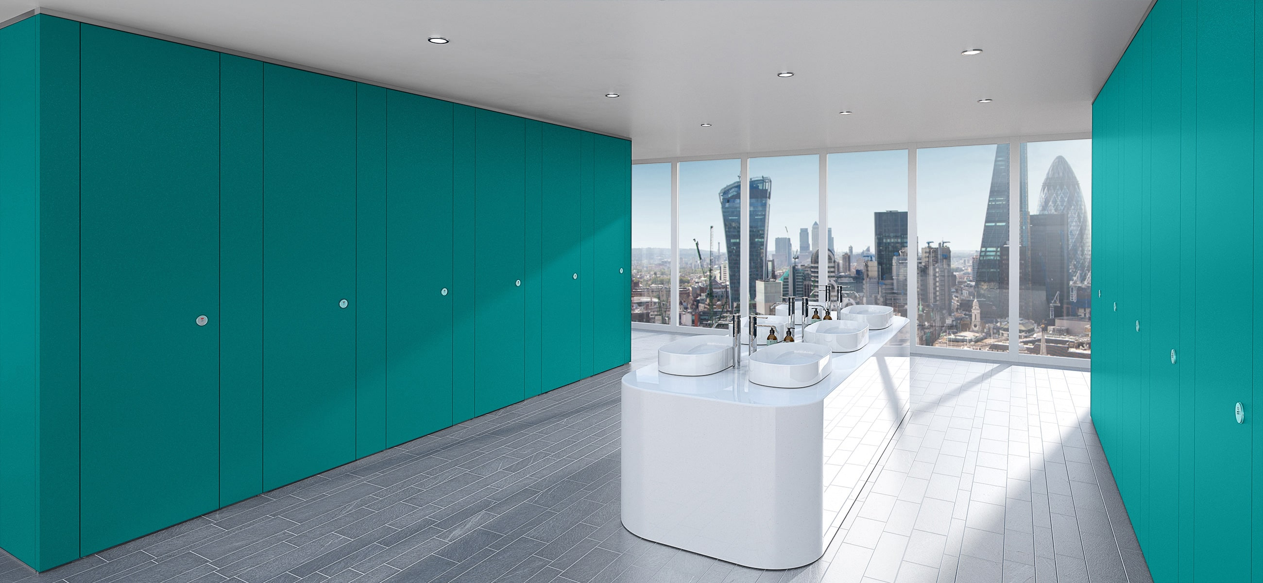 Sylan Commercial Washroom Cubicles in Teal ColourCoat
