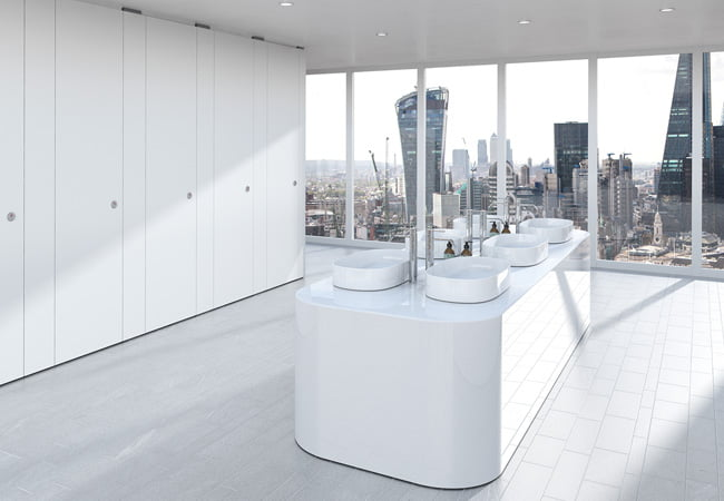 High End Commercial Washrooms Finished in Sylan White ColourCoat