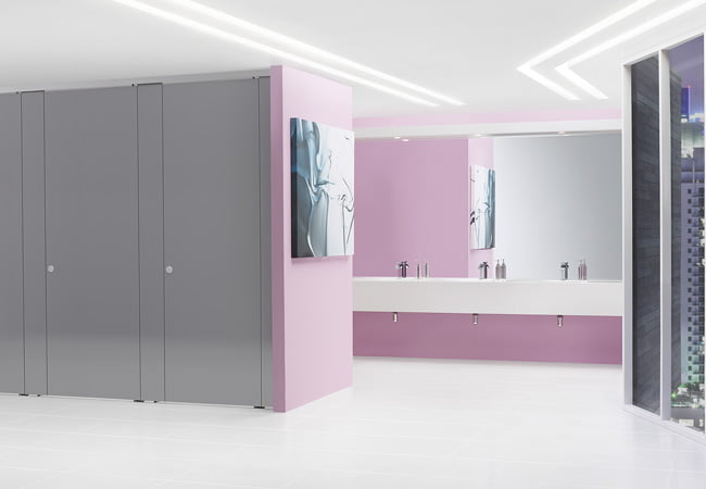 High End Commercial Washrooms Finished in Sylan High Pressure Laminate