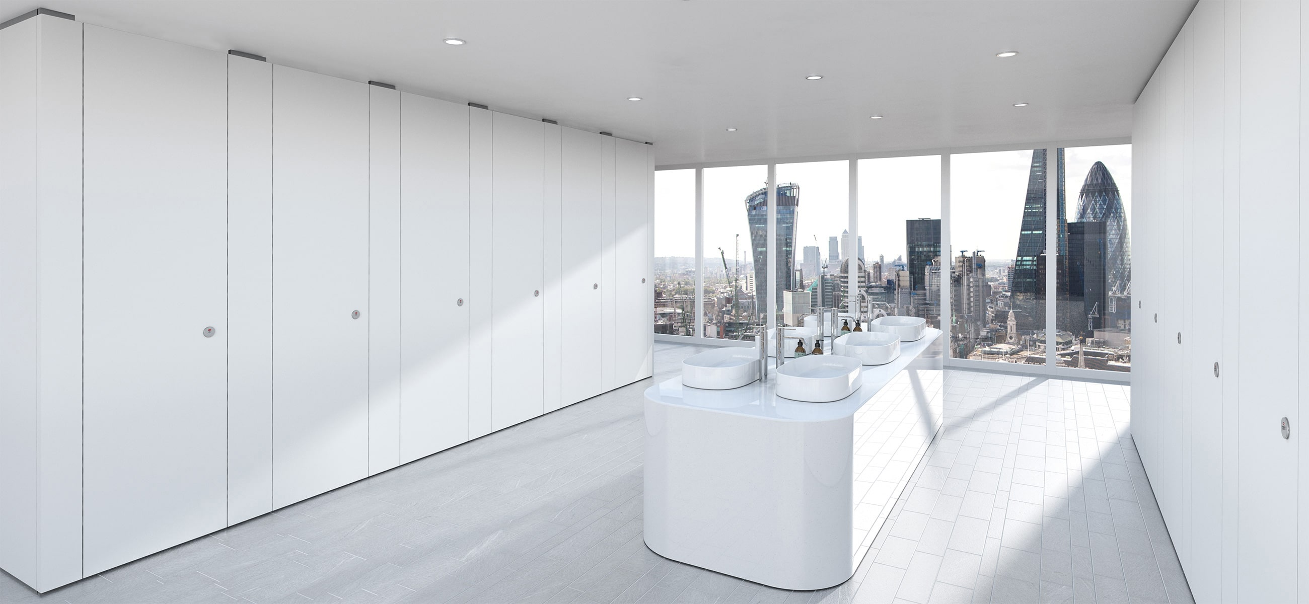Luxury Commercial Washrooms Finished in Sylan White ColourCoat
