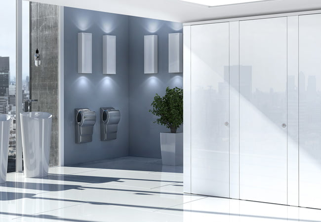 Sylan Corporate Washrooms in White Glass