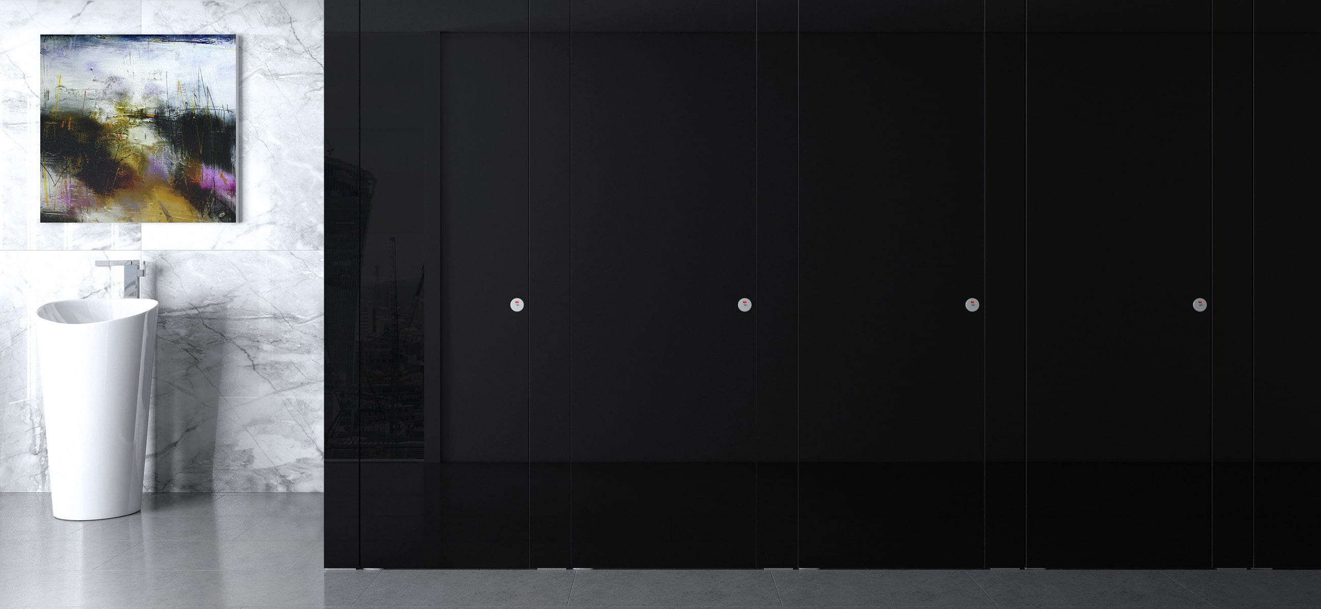 Sylan Commercial Washrooms in Black Glass