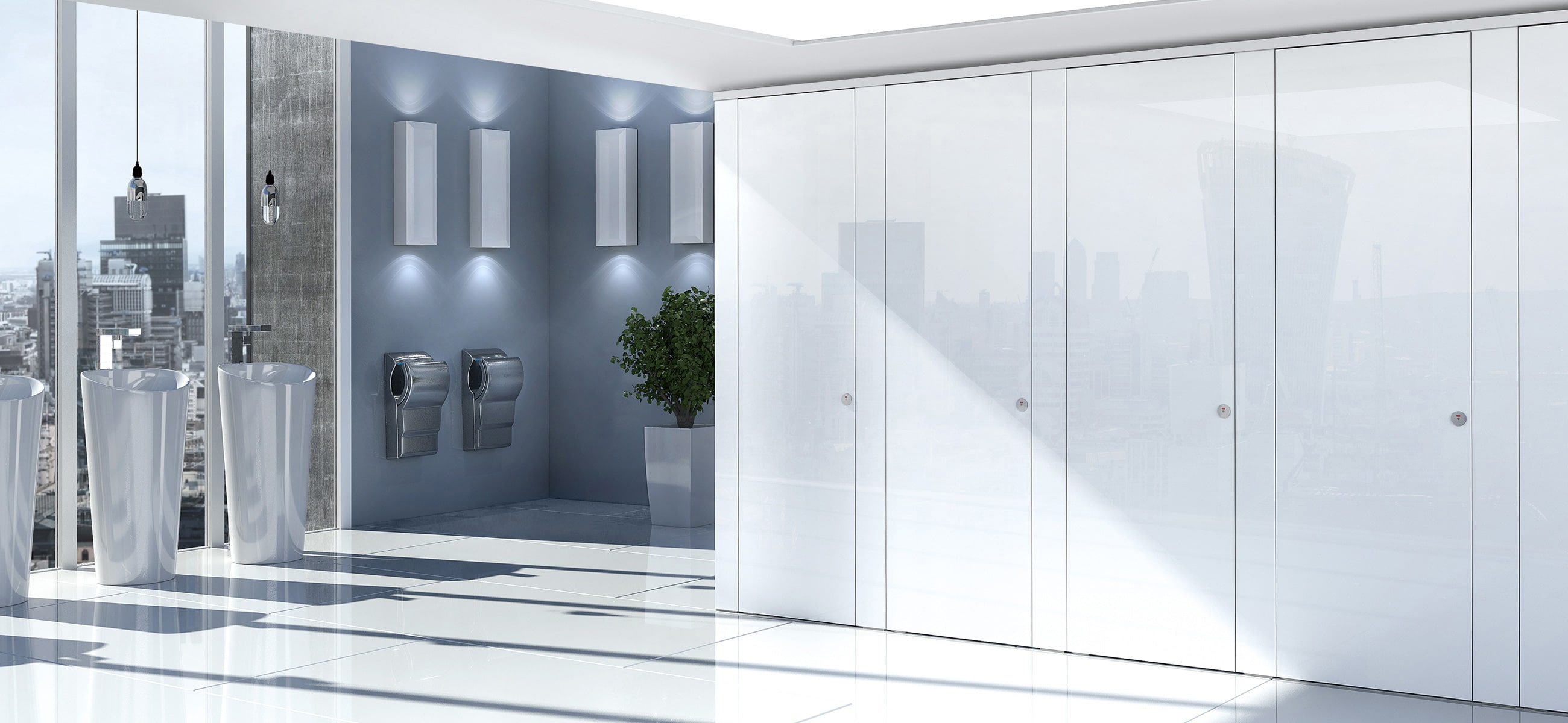Sylan Commercial Washrooms in White Glass