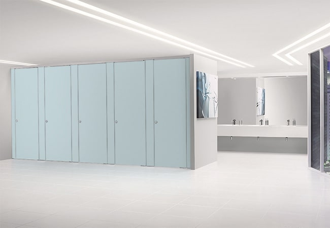 Sylan HPL Washroom Cubicles in Blue Haze