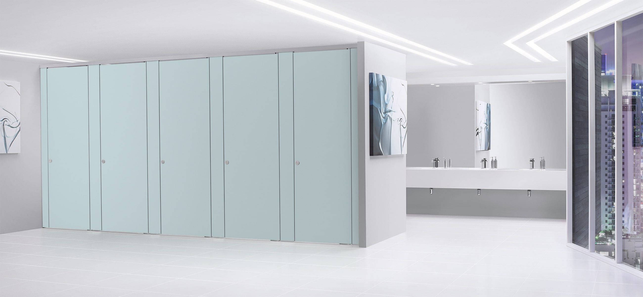 Sylan High Pressure Laminate Washroom Cubicles in Blue Haze