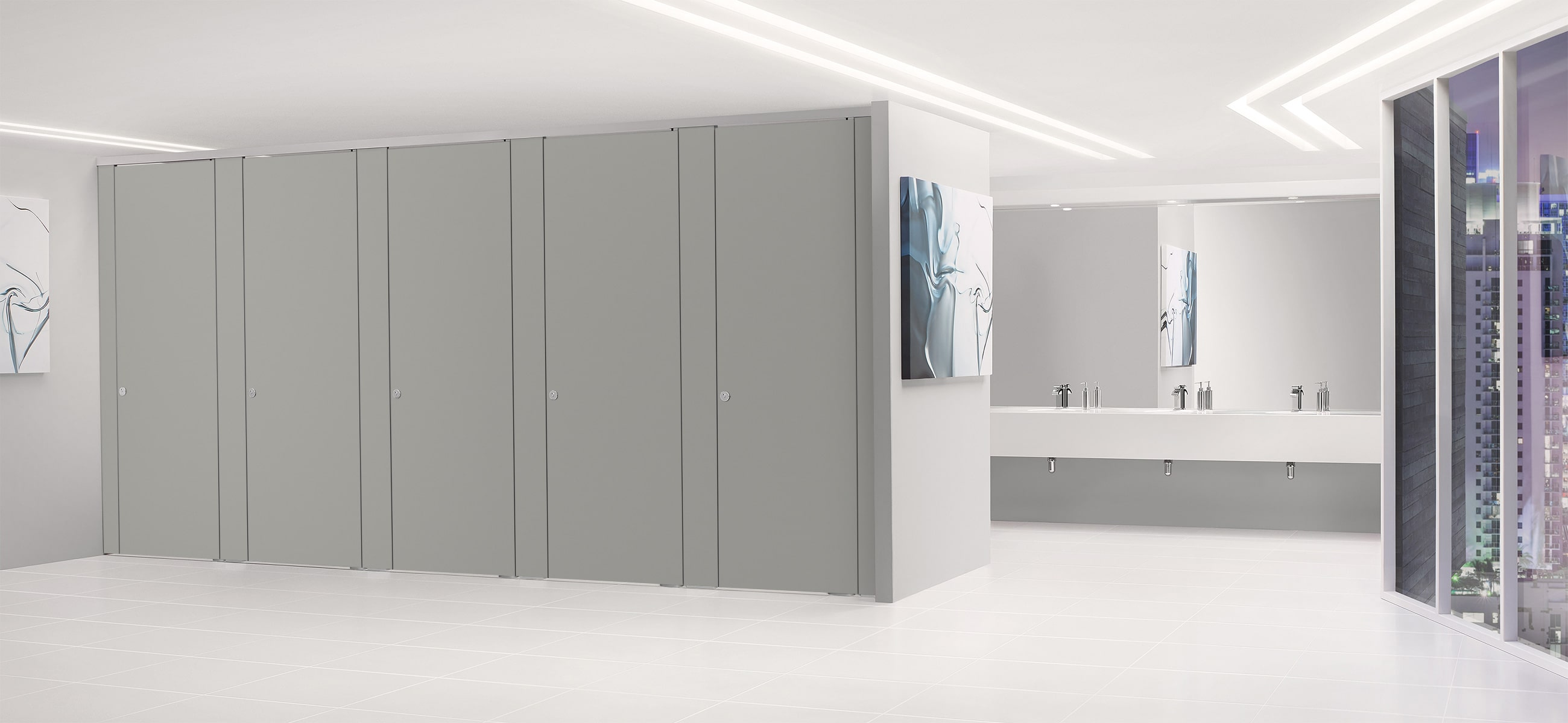 Sylan High Pressure Laminate Washroom Cubicles in Mercury