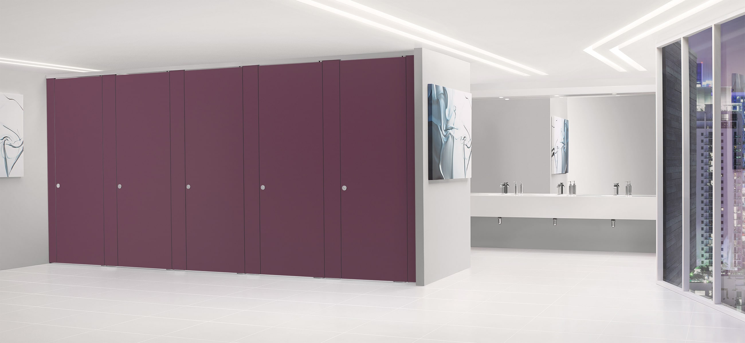 Sylan High Pressure Laminate Washroom Cubicles in Pansy