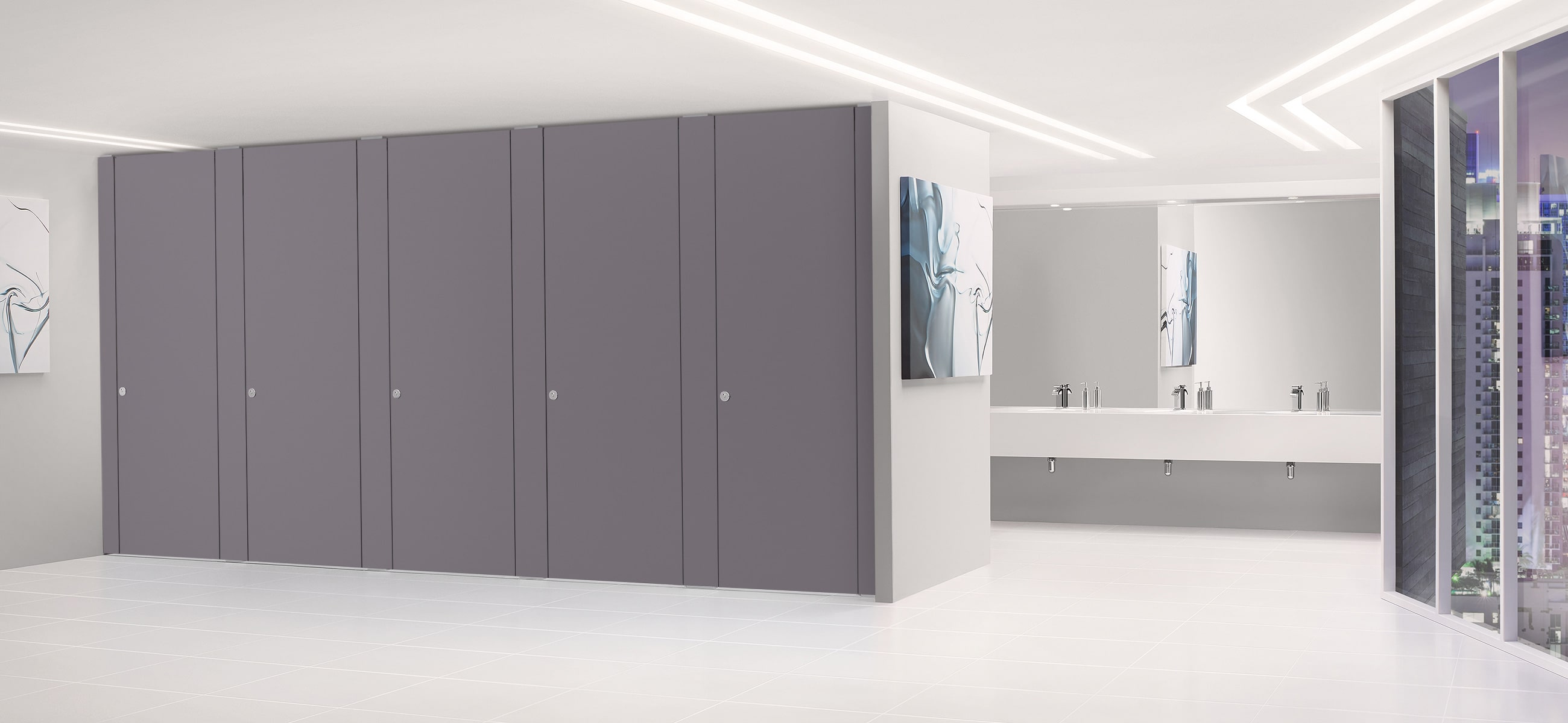 Sylan High Pressure Laminate Washroom Cubicles in Russian Blue