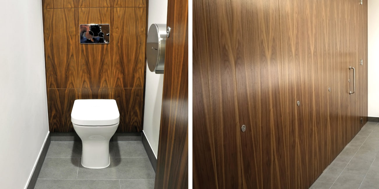 Bespoke veneer flush-fronted cubicles by Sylan at CONNECT110NS development in Glasgow.