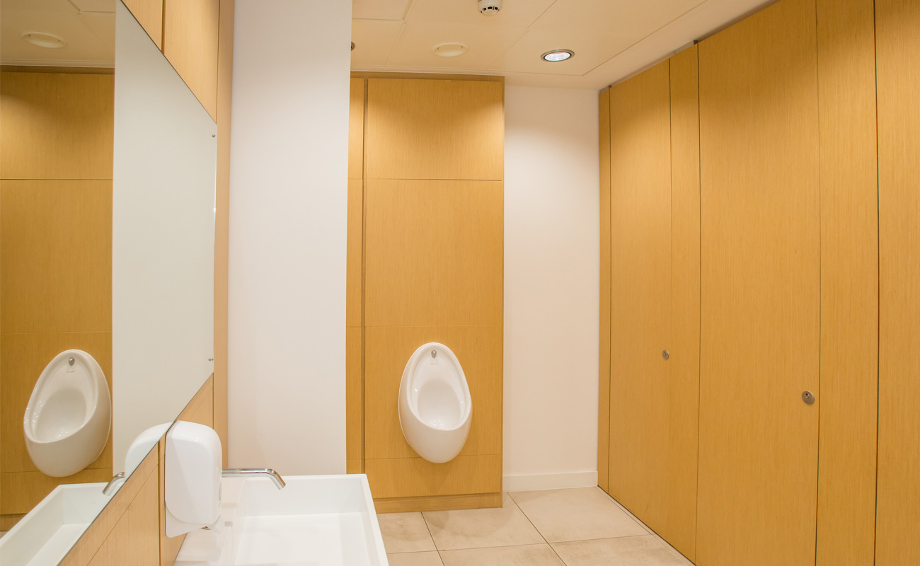 Sylan Real Wood Veneer commercial toilet cubicles for Trinity Quay