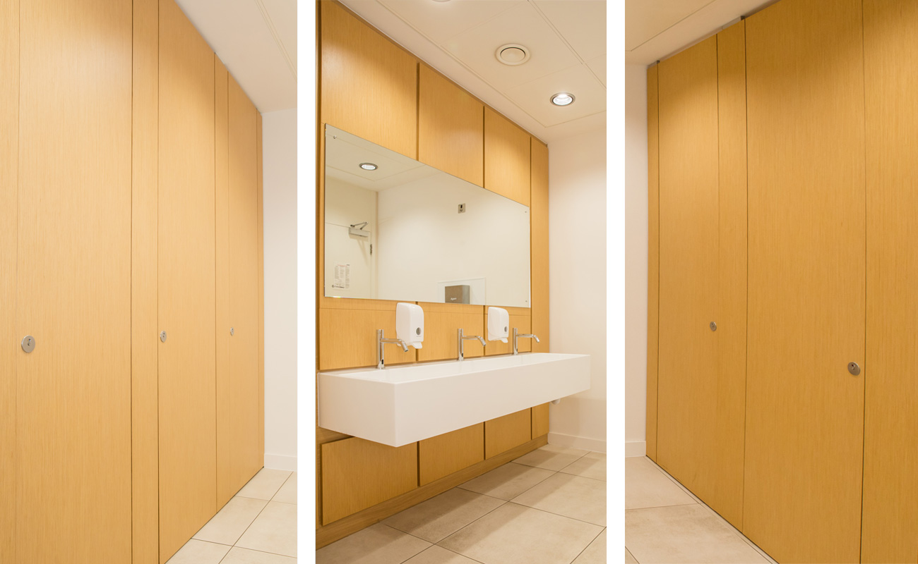 Sylan Real Wood Veneer commercial toilet cubicles