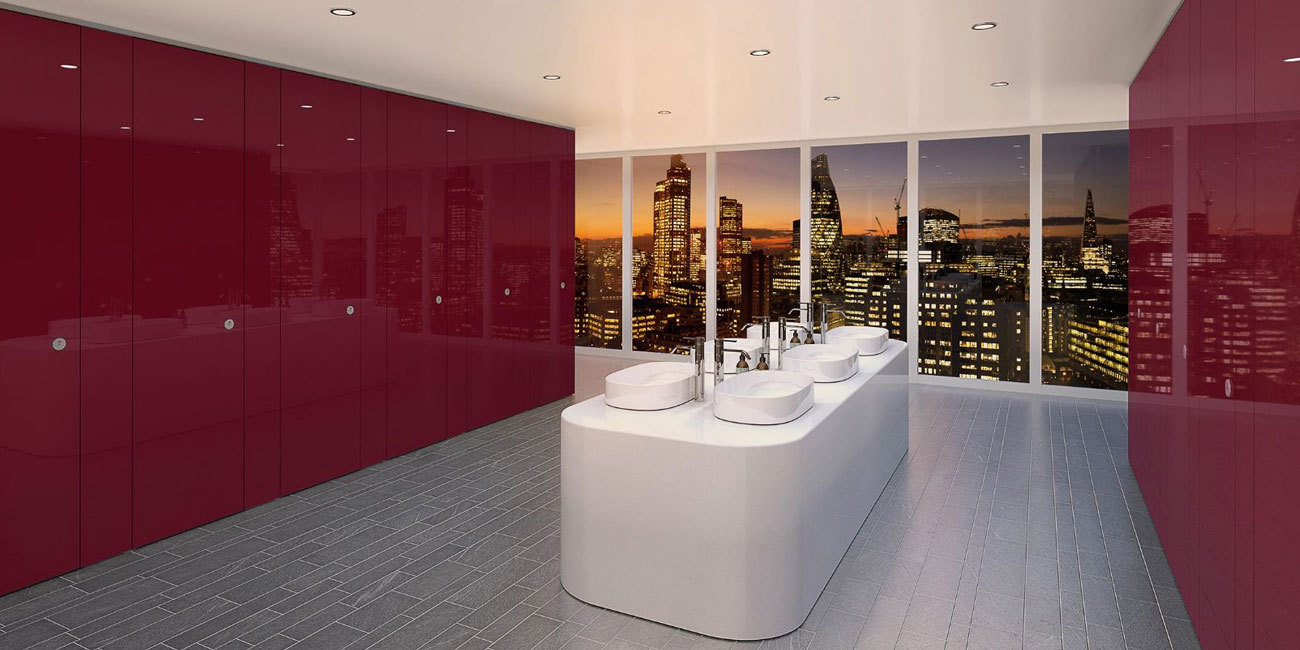 Sylan washrooms ColourCoat Gloss in Berry