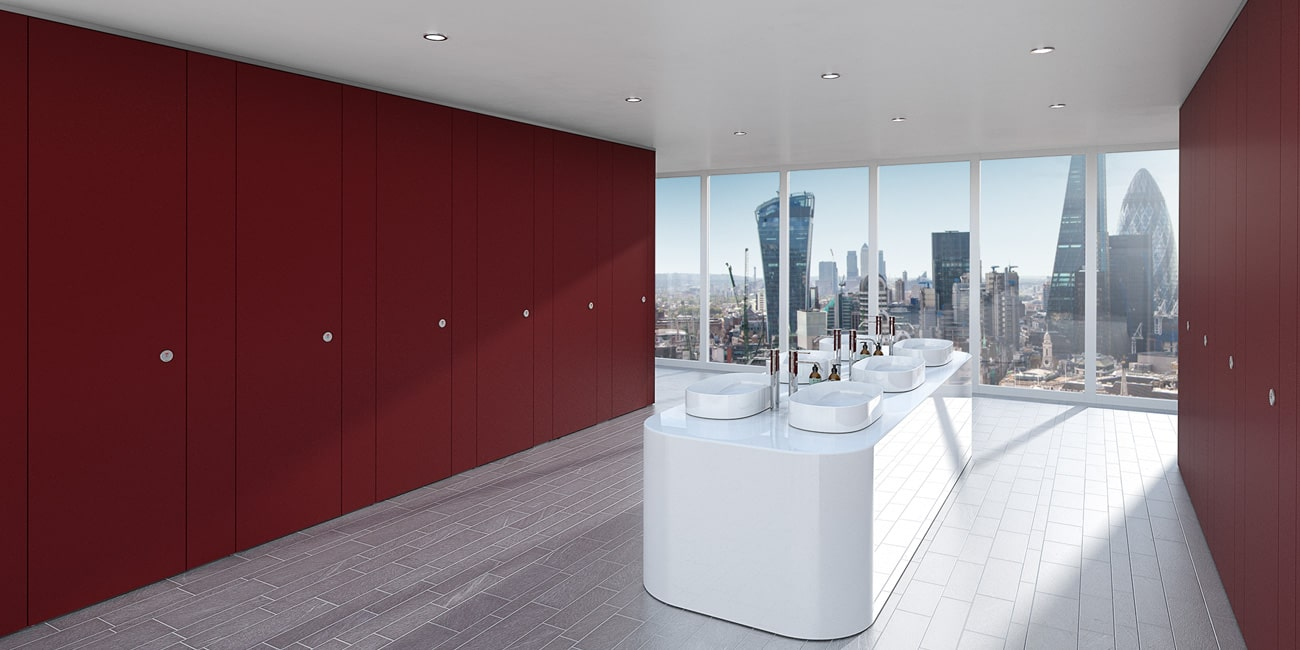 Brand match your commercial bathroom with our ColourCoat toilet cubicles. RAL matched.