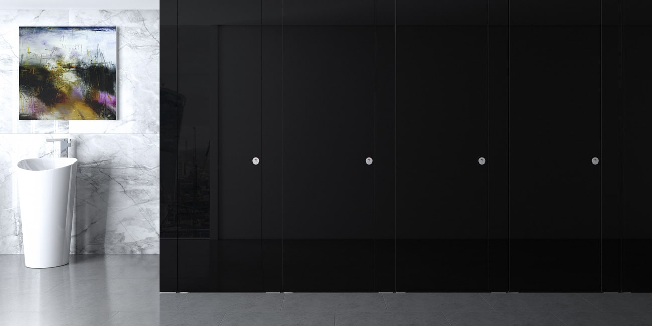 Beautiful black glass toilet cubicle system by Sylan Washroom