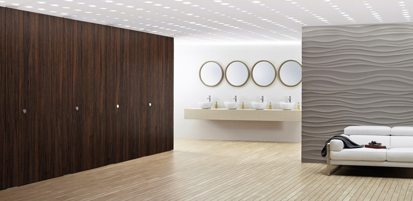 Sylan Commercial Washroom Cubicles in Real Wood Veneer